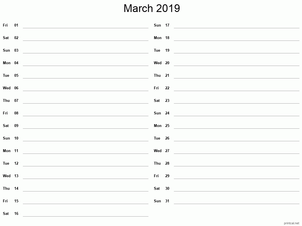 March 2019 Printable Calendar - Two Column Notesheet