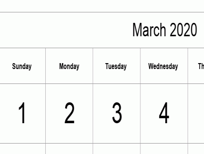 March 2020 calendar template - full-page, tabular