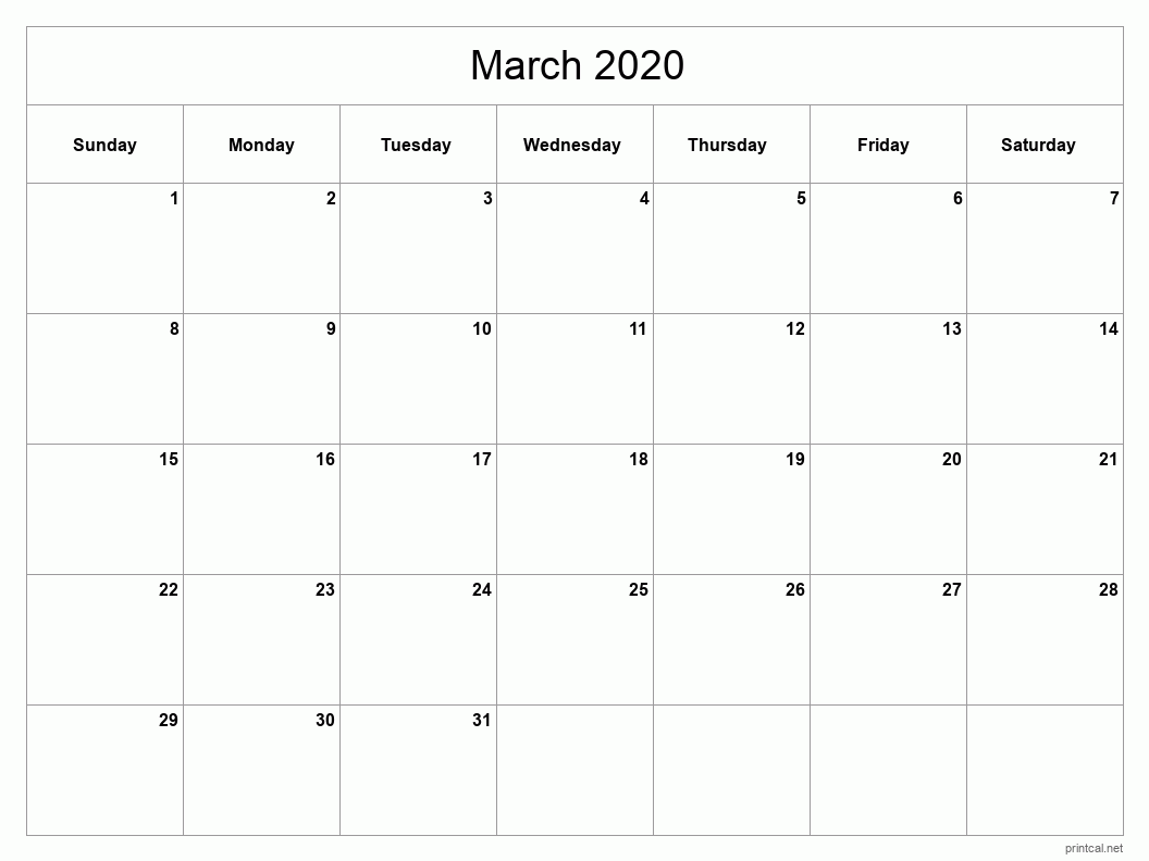 Printable March 2020 Blank Calendar - full-page, blank grid
