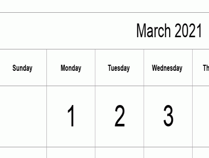March 2021 calendar template - full-page, tabular
