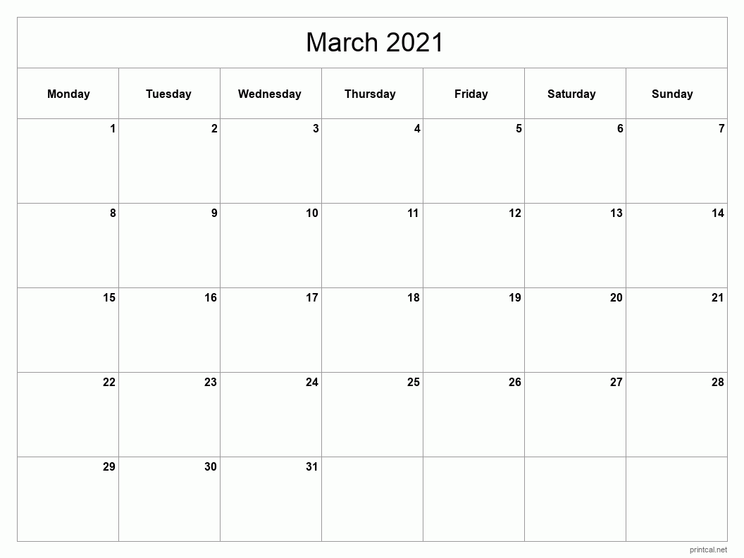 March 2021 Printable Calendar - Classic Blank Sheet