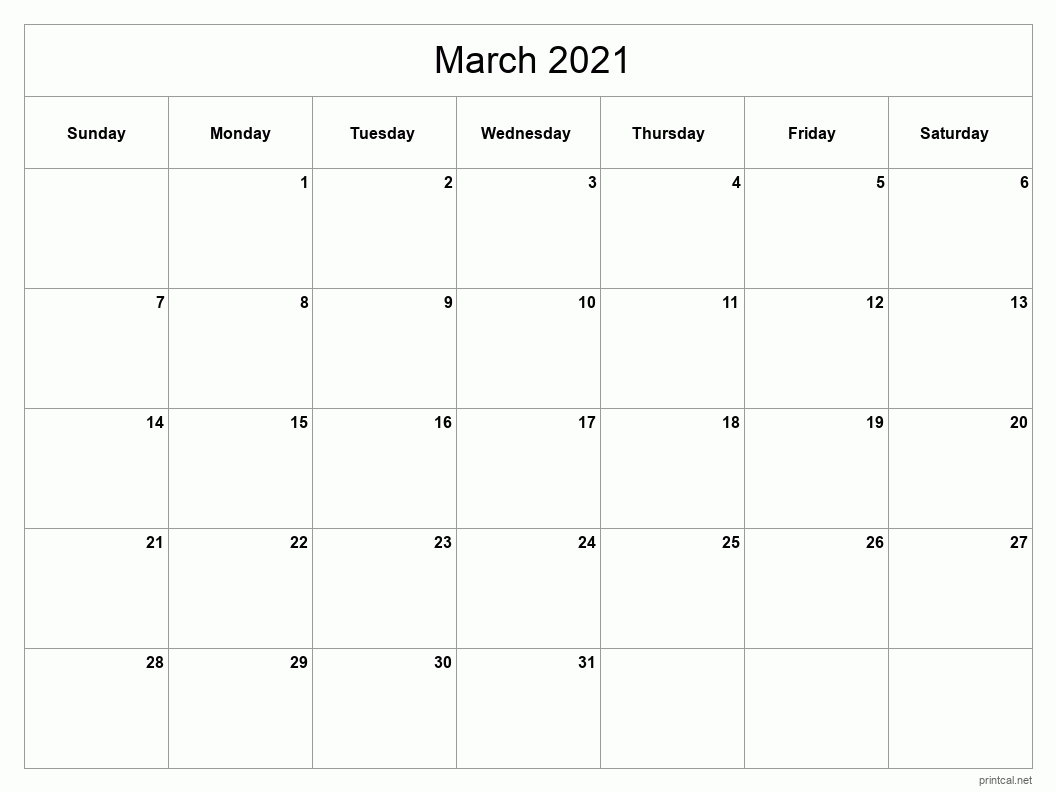 Printable March 2021 Blank Calendar - full-page, blank grid