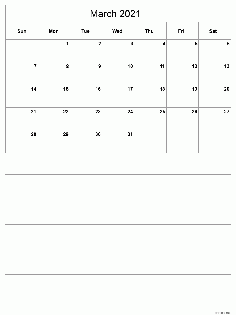 March 2021 Printable Calendar - Half-Page With Notesheet