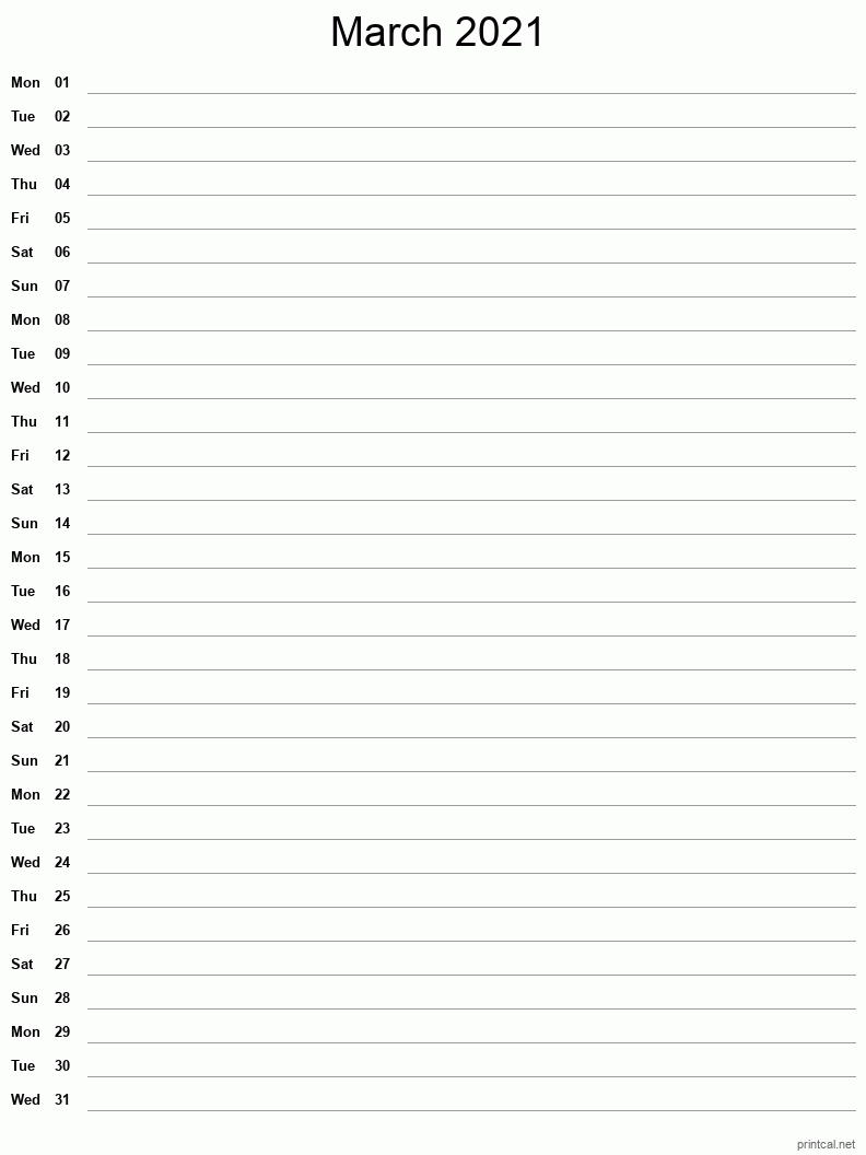 Printable March 2021 Calendar - Template #4 (full-page notes)