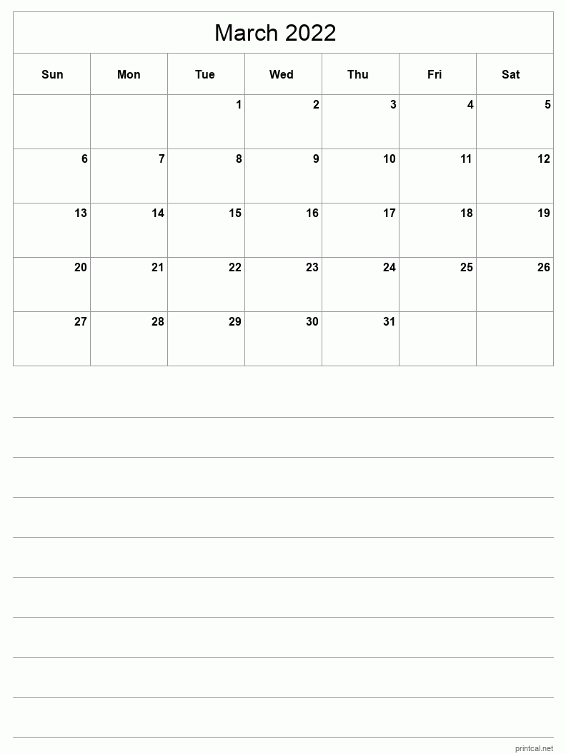 March 2022 Printable Calendar - Half-Page With Notesheet