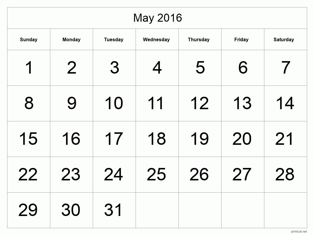 Printable May 2016 Calendar - Template #1 (full-page, tabular)