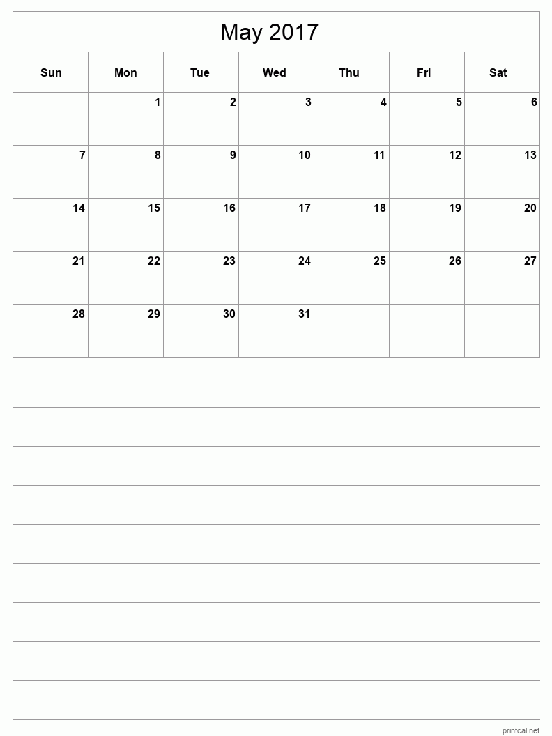 Printable May 2017 Blank Calendar - half-page with notes