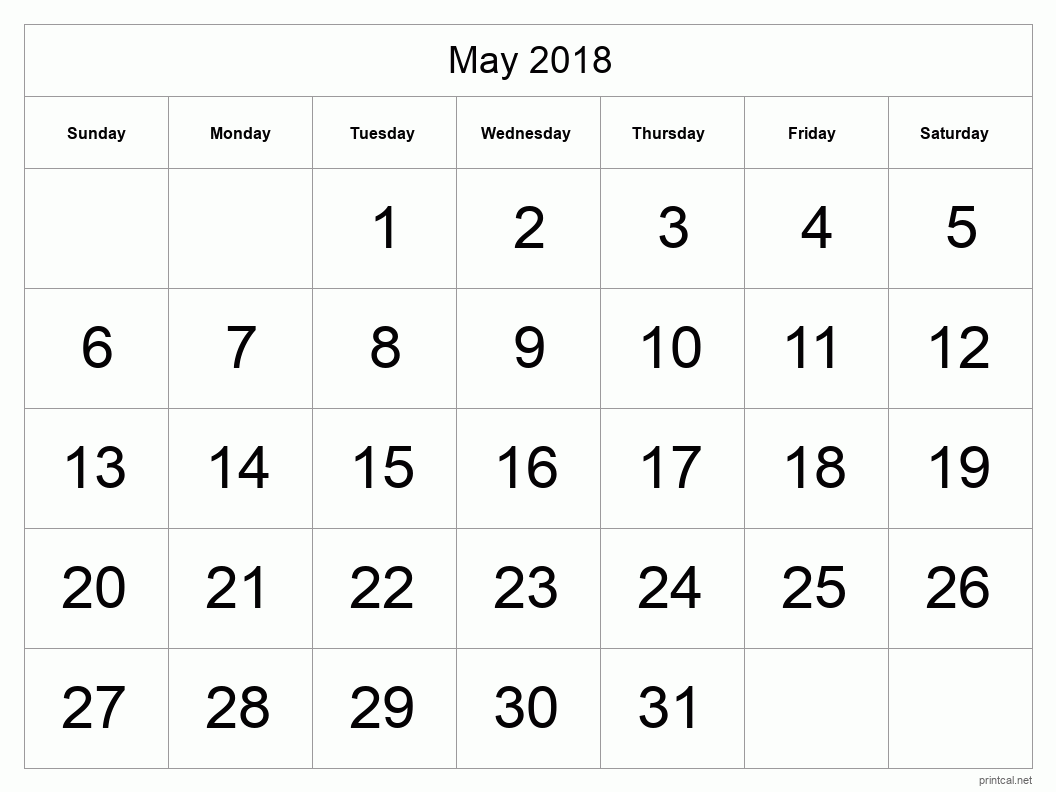 Printable May 2018 Blank Calendar - full-page, tabular