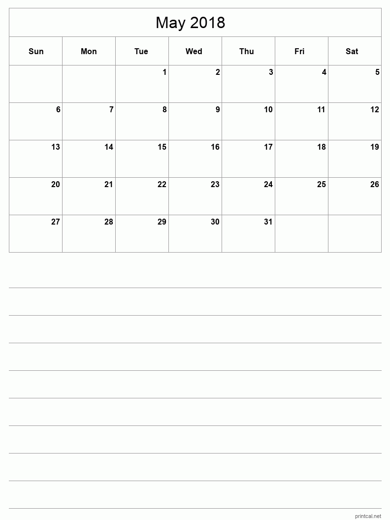 Printable May 2018 Blank Calendar - half-page with notes