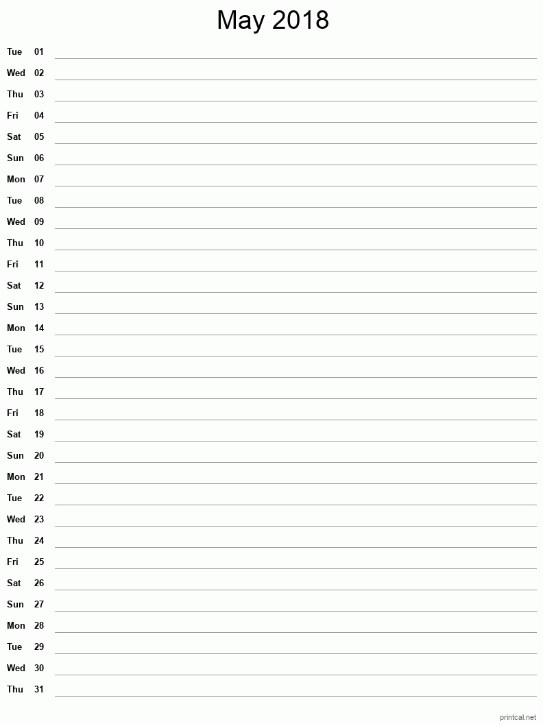 Printable May 2018 Blank Calendar - full-page notes
