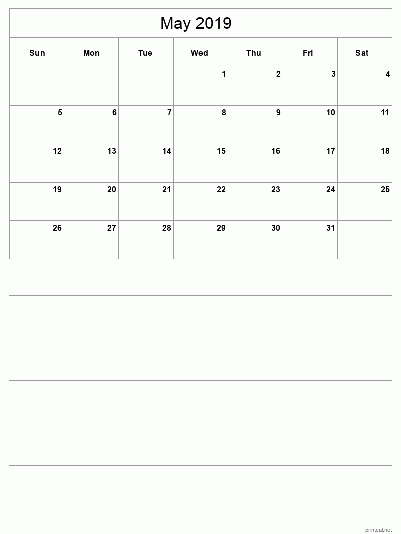 Printable May 2019 Blank Calendar - half-page with notes