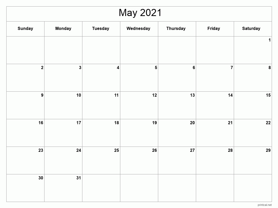 Printable May 2021 Calendar - Template #2 (full-page ...