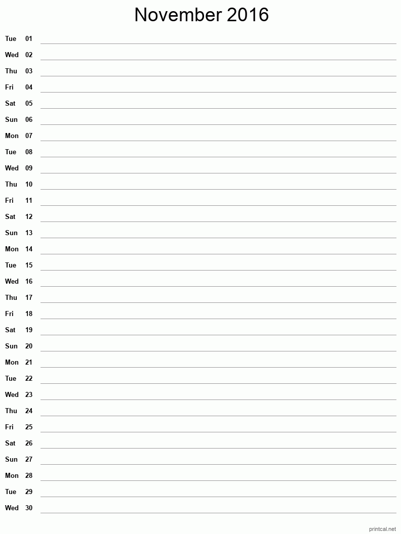Printable November 2016 Blank Calendar - full-page notes