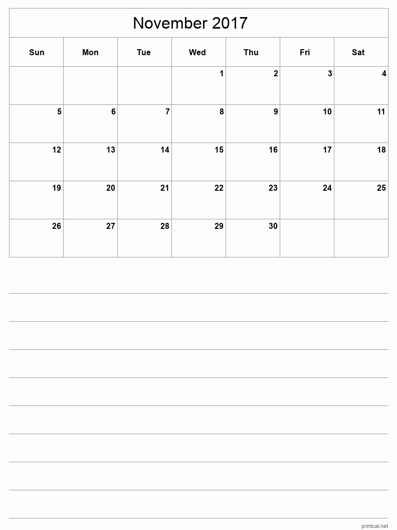 Printable November 2017 Blank Calendar - half-page with notes