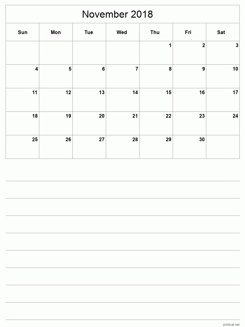 Printable November 2018 Blank Calendar - half-page with notes