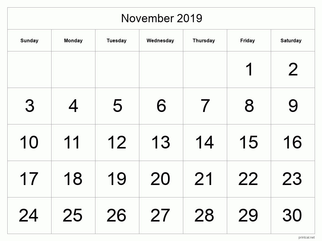 November 2019 Printable Calendar - Half Page (Big Dates)