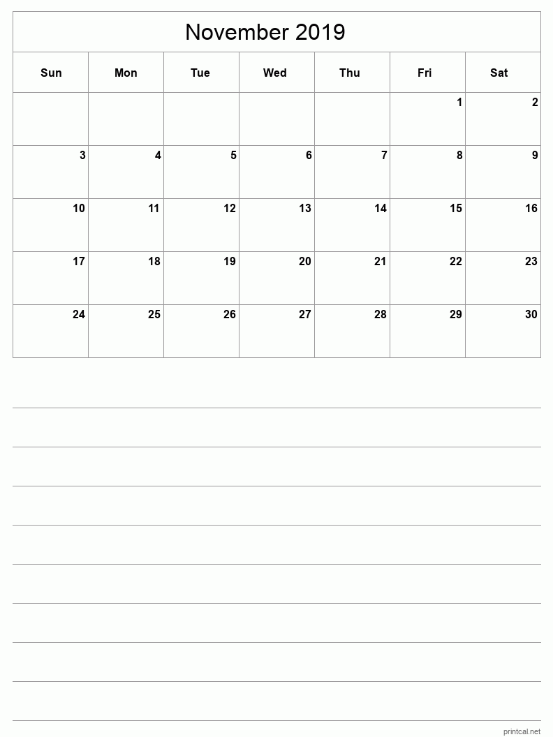 November 2019 Printable Calendar - Grid with notes