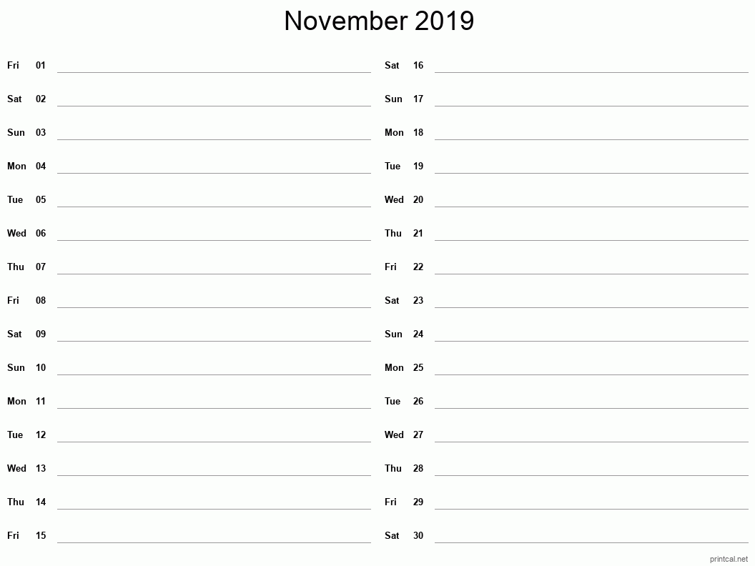 November 2019 Printable Calendar - Two Column Notesheet