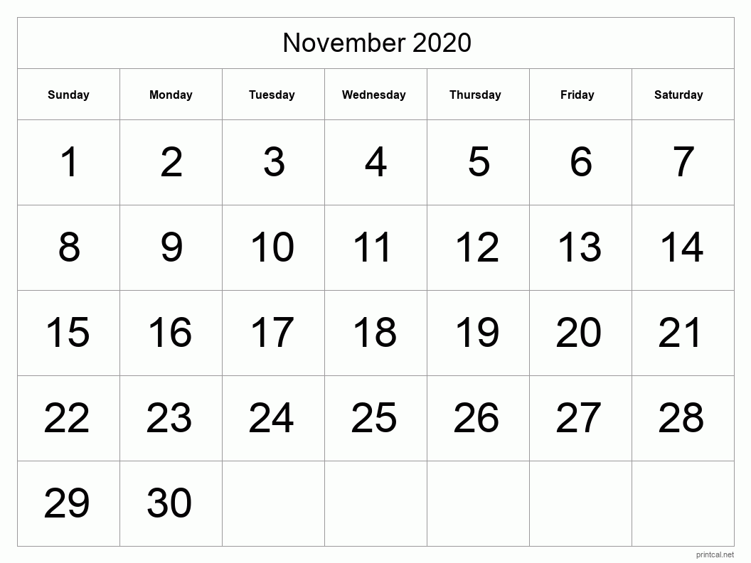 November 2020 Printable Calendar - Half Page (Big Dates)