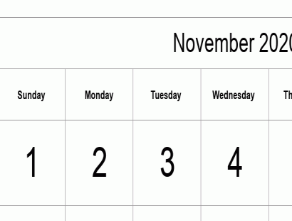 November 2020 calendar template - full-page, tabular