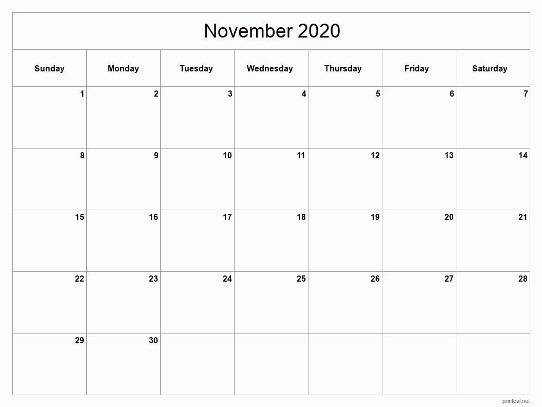 November 2020 Printable Calendar - Full Page (Classic Grid)