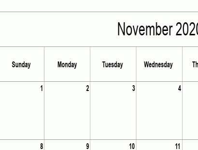 November 2020 calendar template - full-page, blank grid