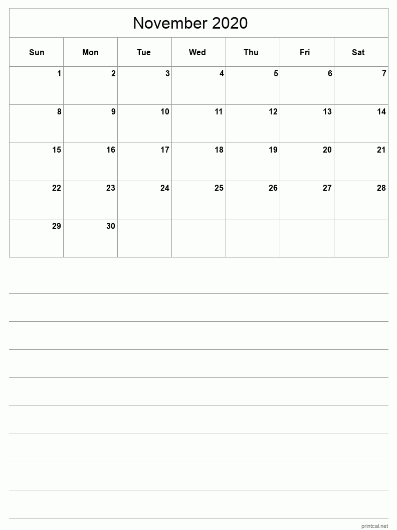November 2020 Printable Calendar - Grid with notes