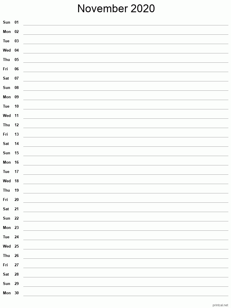 November 2020 Printable Calendar - Notes (Single Column)