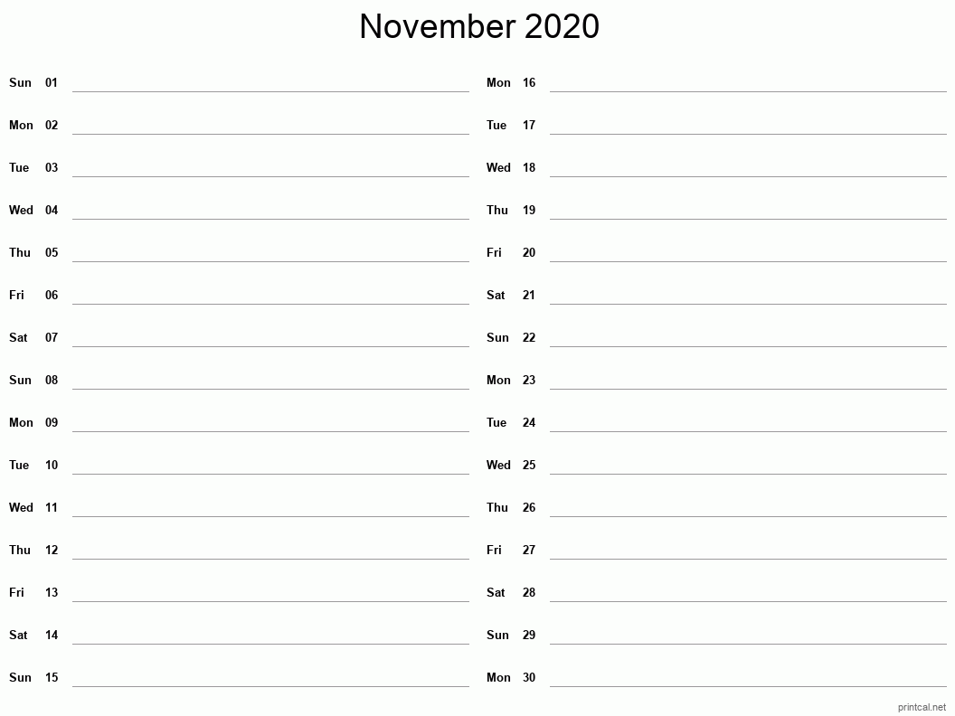 November 2020 Printable Calendar - Two Column Notesheet