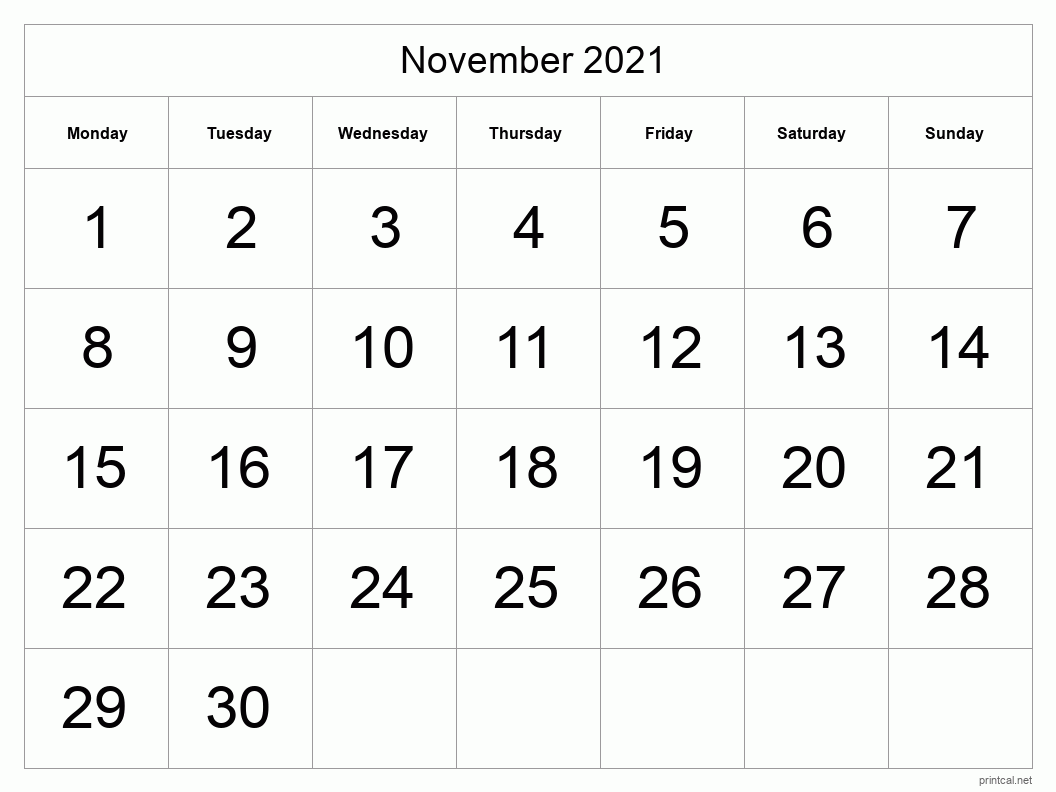 November 2021 Printable Calendar - Big Dates