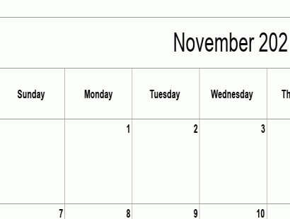 November 2021 calendar template - full-page, blank grid