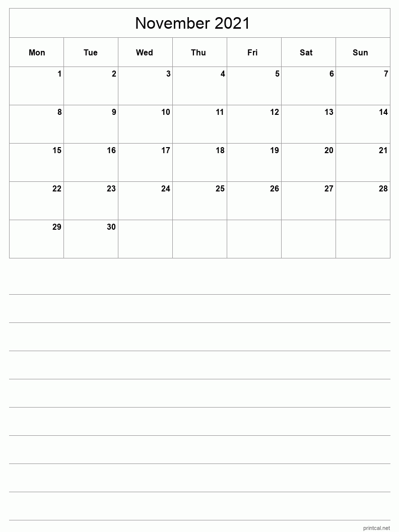 November 2021 Printable Calendar - Half-Page With Notesheet