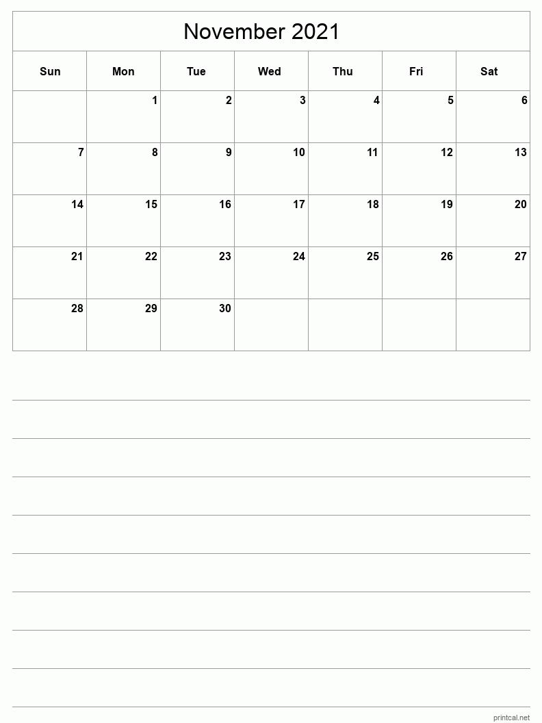 Printable November 2021 Calendar - Template #3 (half-page ...