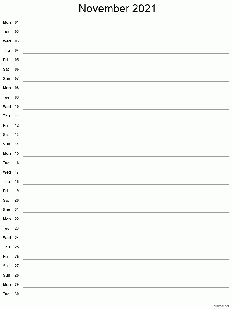November 2021 Printable Calendar - Single Column Notesheet