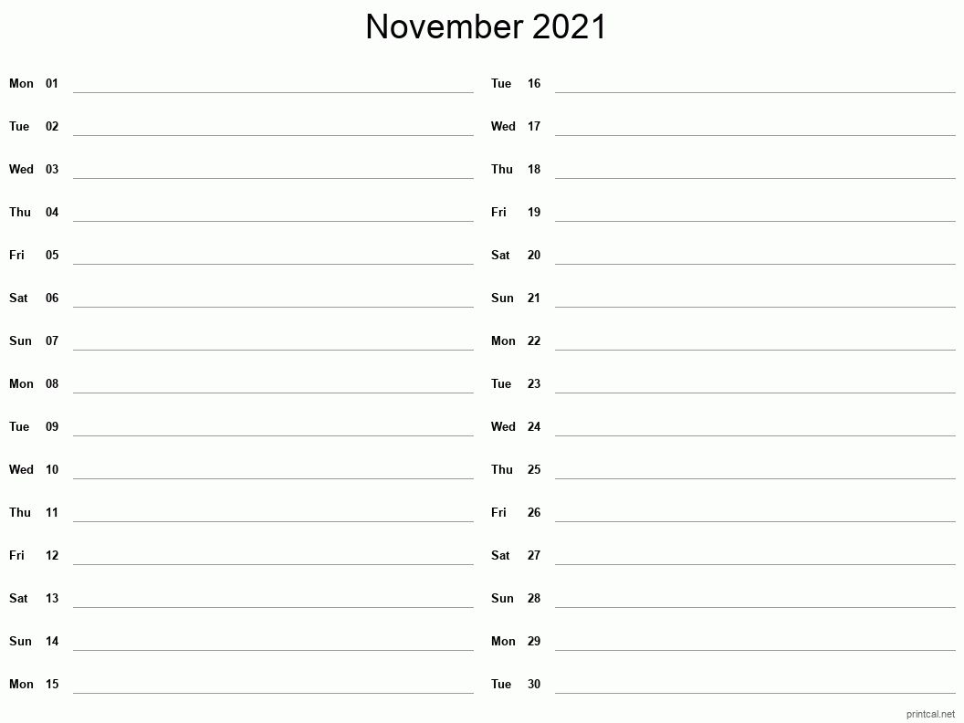 November 2021 Printable Calendar - Two Column Notesheet
