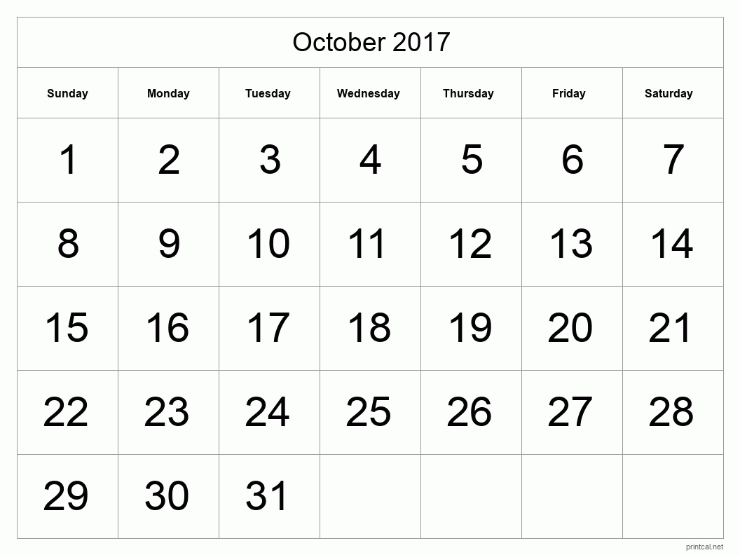 Printable October 2017 Blank Calendar - full-page, tabular