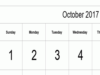 October 2017 calendar template - full-page, tabular