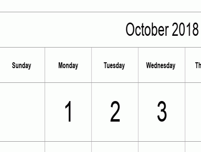 October 2018 calendar template - full-page, tabular