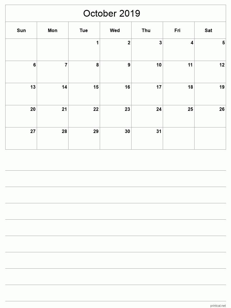 Printable October 2019 Blank Calendar - half-page with notes