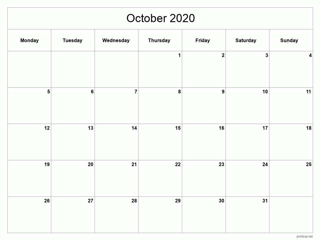 October 2020 Printable Calendar - Full Page (Classic Grid)