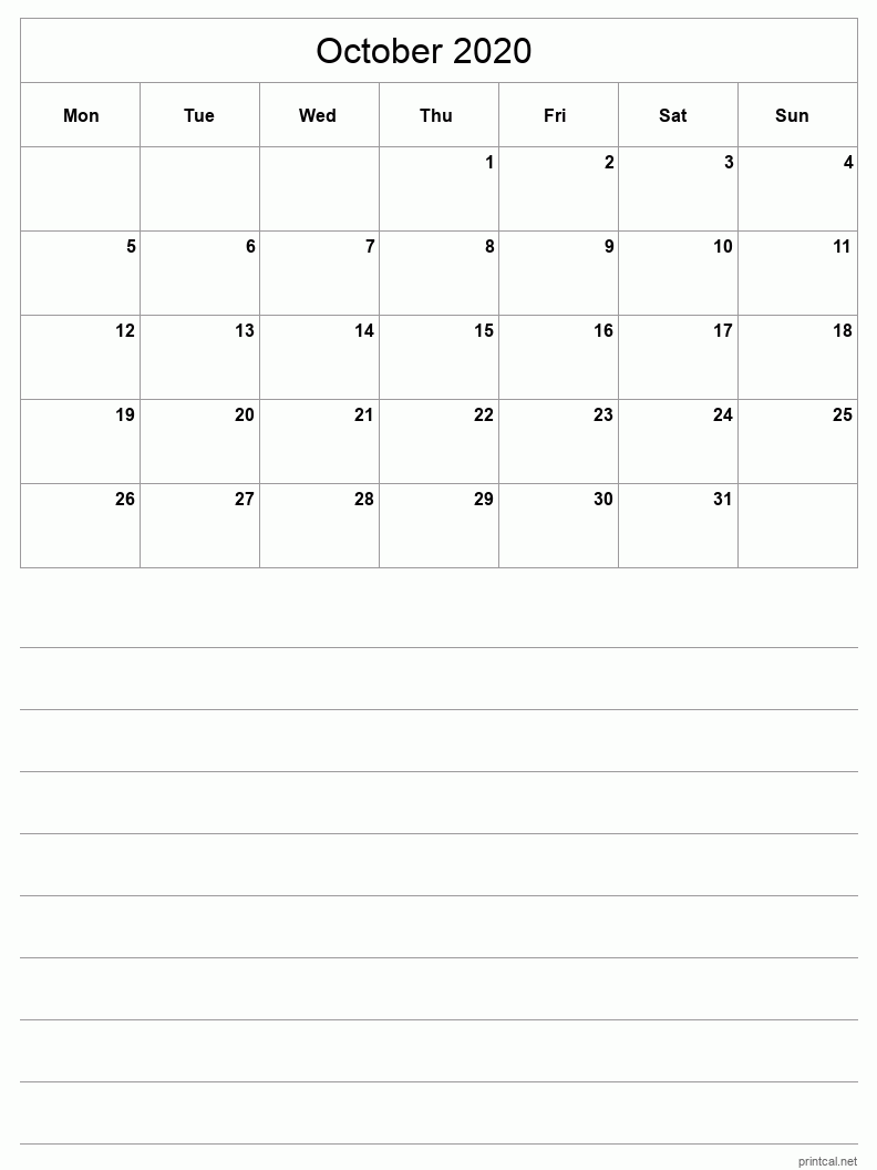 October 2020 Printable Calendar - Grid with notes