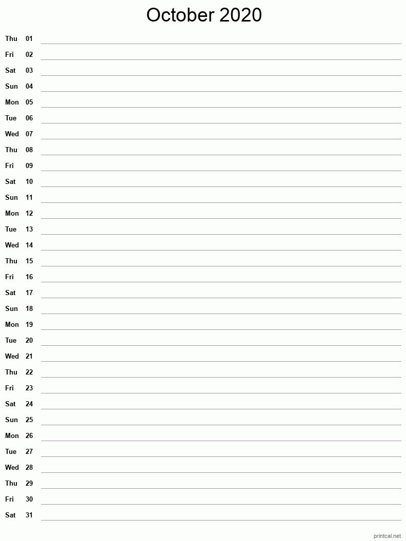 Printable October 2020 Blank Calendar - full-page notes