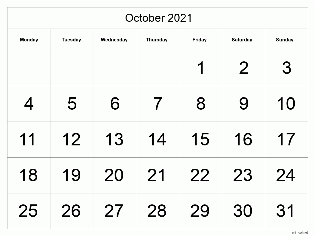 October 2021 Printable Calendar - Big Dates