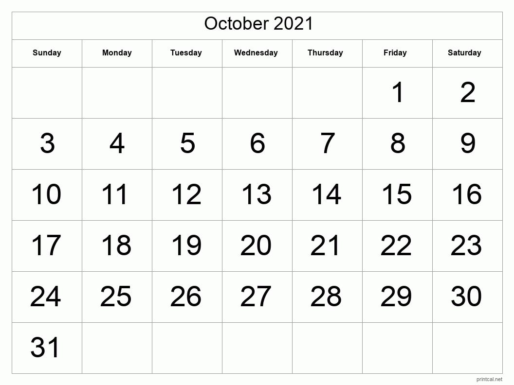 Printable October 2021 Calendar | Free Printable Calendars