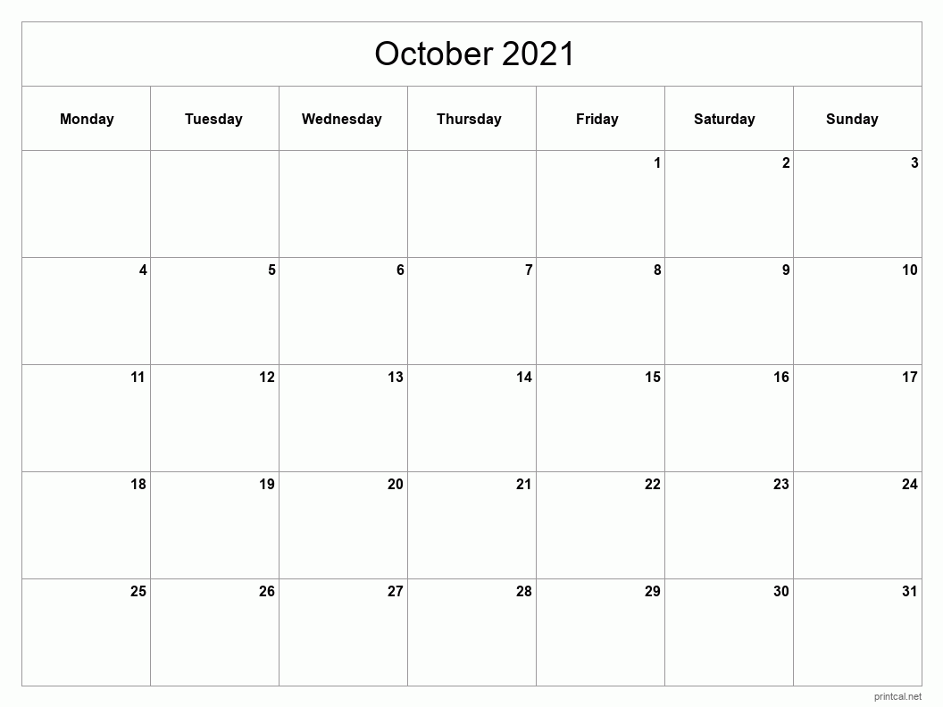 October 2021 Printable Calendar - Classic Blank Sheet