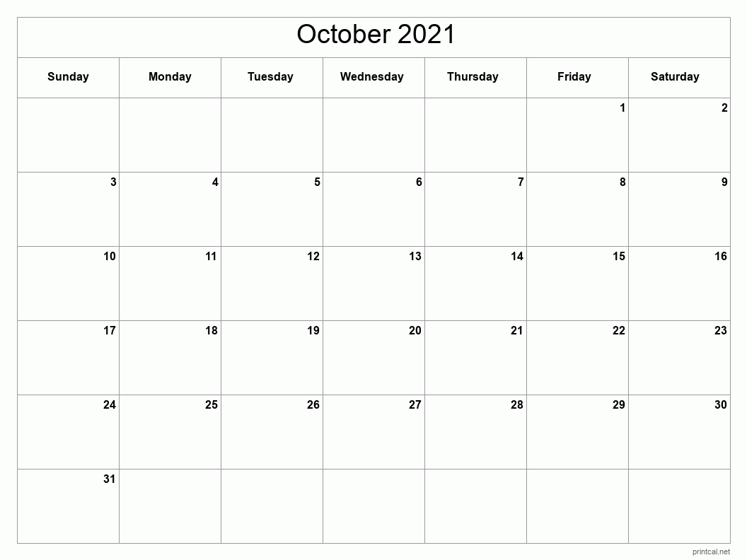 October 2021 Printable Calendar - Full Page (Classic Grid)