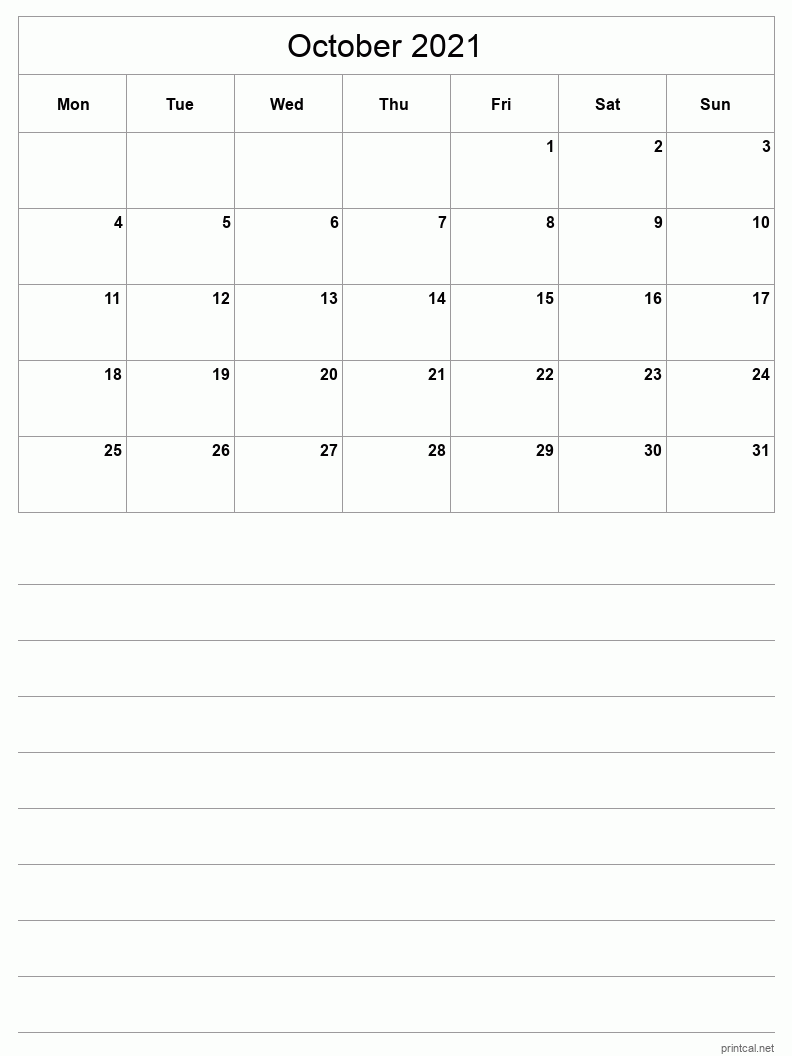October 2021 Printable Calendar - Half-Page With Notesheet