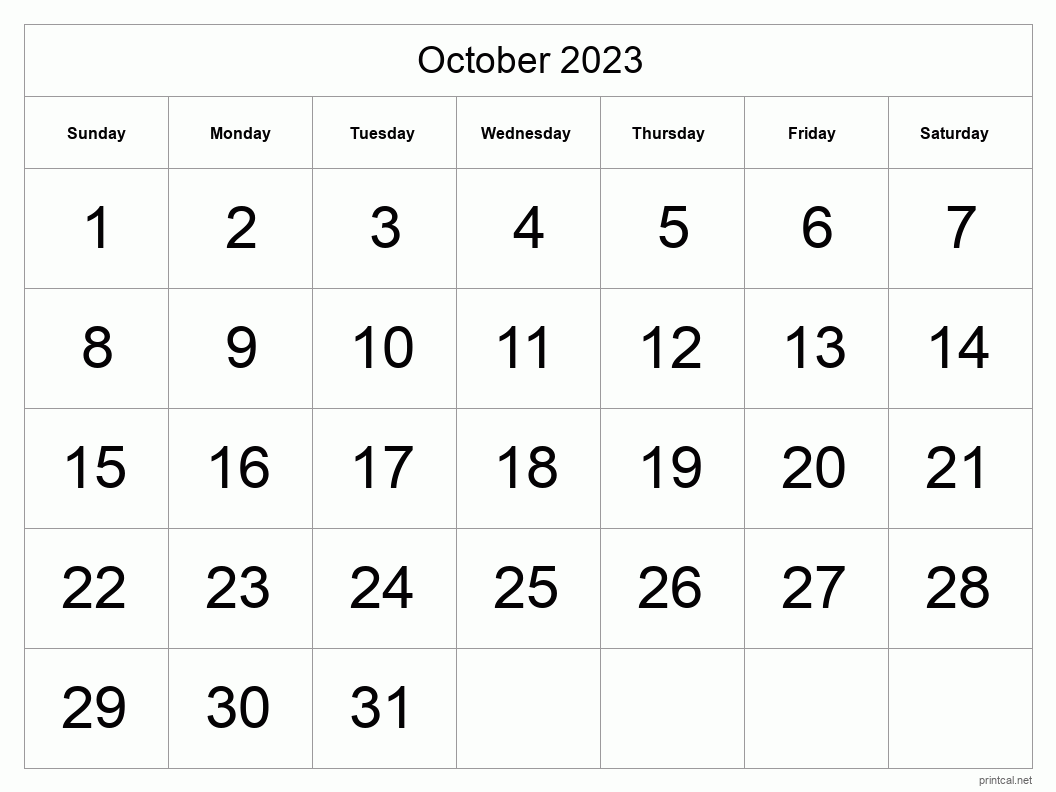 October 2023 Printable Calendar - Big Dates