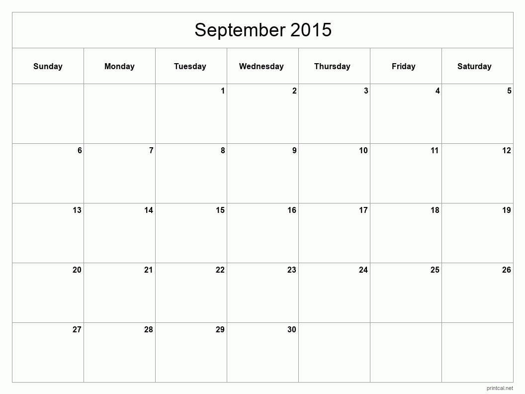 monthly calendar template september 2015