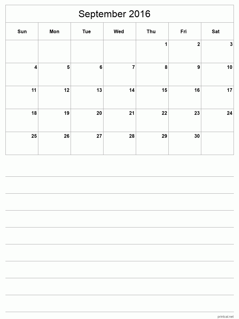 Printable September 2016 Calendar - Template #3 (half-page ...
